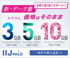 IIJmio 価格はそのままデータ増量